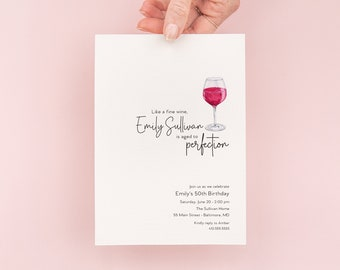 Adult Birthday Invitation - 50th Invite - 60th 50th 40th 30th - Minimalist Aged to Perfection -  Red Wine Glass - woman - man