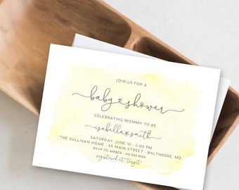 Yellow Watercolor Baby Shower Invitation