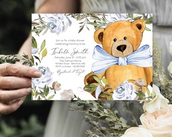Blue Bear Floral Baby Shower Invitation - Dusty Blue Flowers - Little Cub - Peony Roses Greenery Invitation Watercolor Printable