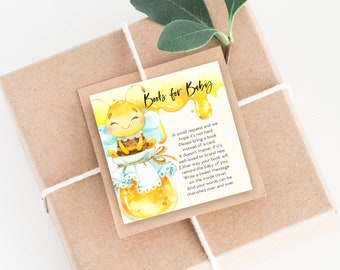 INSTANT DOWNLOAD Honey Bee Baby Shower Bring a Book Instead of a Card insert Gender Neutral Printable