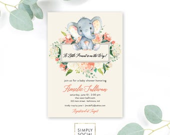 Peach Floral Elephant Baby Shower Invitation - It's a Girl Watercolor Elephant Modern Baby Shower Hydrangea Peony Little Peanut Printable