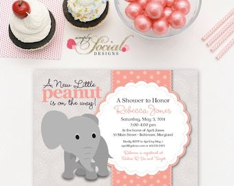 Elephant Baby Shower Invitation Coral and Grey Little Peanut Printable
