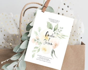 Creme Floral Engagement Party Invitation - Blush Pink Flowers - We're Engaged - Printed Invitations - Greenery Invitation Watercolor