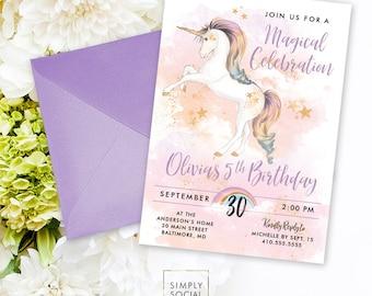 Unicorn Birthday Party Invitation - Printable Party Invitation Rainbow Unicorn Faux Gold Glitter Unicorn Invite Rainbow Clouds Magical Party