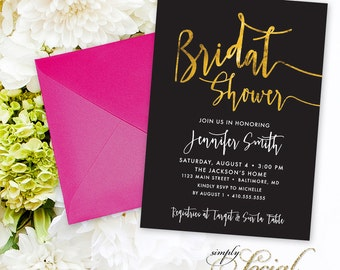 Bridal Shower Invitation - Faux Gold Foil Black and White Calligraphy Typography Printable Classy