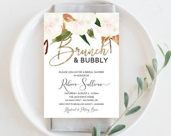 Brunch and Bubbly Magnolia Bridal Shower Invitation