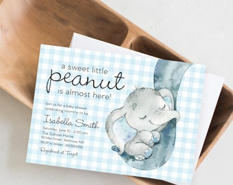 Blue Gingham Elephant Baby Shower Invitation - It's a Boy Watercolor Elephant Modern Baby Shower Blue and Grey Little Peanut Baby Boy