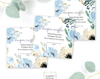 INSTANT DOWNLOAD Blue Boho Floral Baby Shower Diaper Raffle Ticket - Garden Shower - Dusty Blue Flowers Book bring diapers Printable