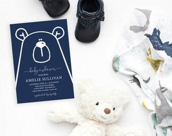 Blue Teddy Bear Baby Shower Invitation - It's a Boy Modern Baby Shower Blue Little Cub Printable Baby Boy