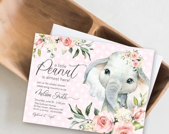 Floral Pink Elephant Baby Shower Invitation - It's a Girl Watercolor Elephant - Little Peanut is Almost Here - Sweet Little Peanut