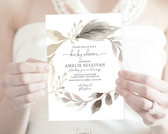 Floral Greenery Baby Shower Invitation - Garden Shower - Gender Neutral - Olive Branch Invitation Watercolor Printable Invitation Script