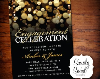 Engagement Party Invitation Engagement Invitation Gold Glitter Bokeh Black and White Glam Printable Digital