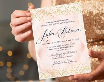 Blush Pink and Gold Glitter Confetti Bat Mitzvah Invitation