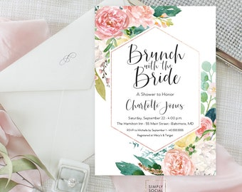 Pink Floral Greenery Bridal Shower Invitation