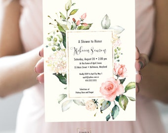 Pink Floral Baby Shower Invitation - Blush Pink Flowers - Bridal Shower - Peony Roses Greenery Faux Gold Foil Watercolor Printable