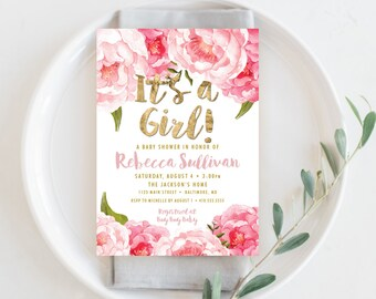 Floral Baby Shower Invitation - Floral Peony Blush Faux Gold Foil Boho Flowers Pink Watercolor Botanical It's a Girl Printable Party Invite