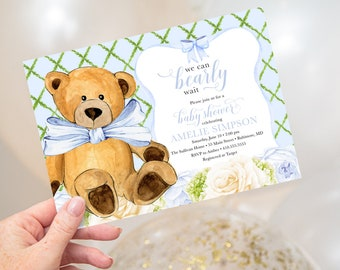 We Can Bearly Wait - Blue Floral Teddy Bear Baby Shower Invitation - It's a Boy