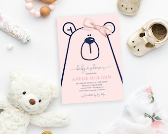 Pink and Navy Teddy Bear Baby Shower Invitation - It's a Girl, Little Cub Printable Baby Girl