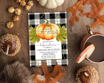 Pumpkin and Buffalo Check Baby Shower Invitation