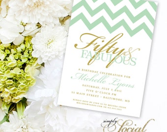 Surprise 50th Birthday Party Invitation with Chevron Mint Green and Gold