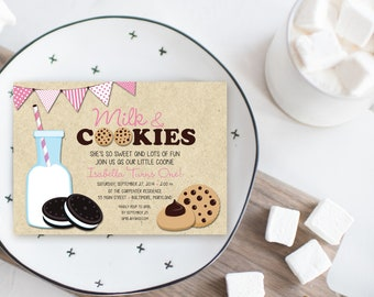 Pink Milk and Cookies Birthday Party Invitation