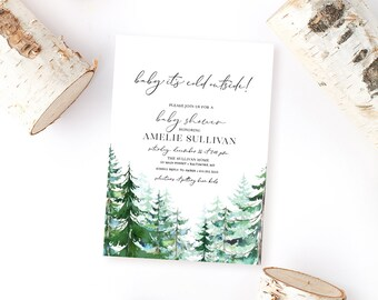Pine Tree Baby Shower Invitation - Baby It's Cold Outside