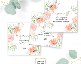 INSTANT DOWNLOAD Pink Floral Baby Shower Diaper Raffle Ticket - Garden Shower - Peony Roses Book bring diapers faux gold foil Printable