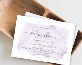 Purple Watercolor Baby Shower Invitation