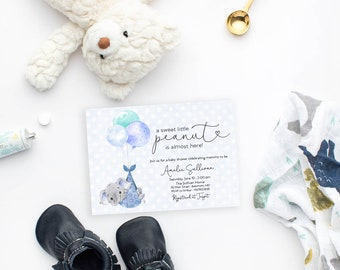 Blue Elephant Baby Shower Invitation - It's a Boy Watercolor Elephant - Little Peanut is Almost Here - Elephant with Balloons