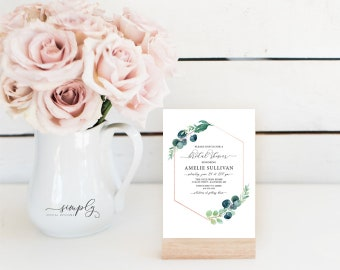 Geometric Greenery Bridal Shower Invitation