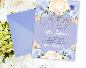 Blue Floral Baby Shower Invitation