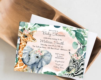 Pink Girl Jungle Animals Baby Shower Invitation - Greenery Watercolor Elephant Giraffe Zebra - Safari Baby Shower