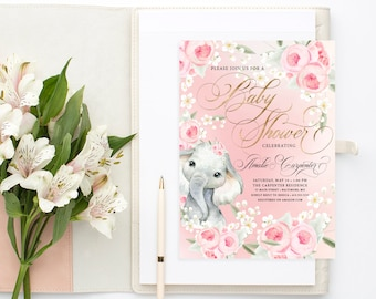 Pink Floral Elephant Baby Shower Invitation