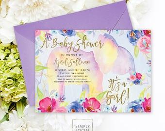 Boho Floral Elephant Baby Shower Invitation