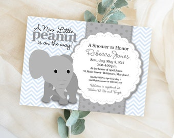 Blue Chevron Elephant Baby Shower Invitation