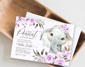 Floral Purple Elephant Baby Shower Invitation - It's a Girl Watercolor Elephant - Little Peanut is Almost Here - Sweet Little Peanut