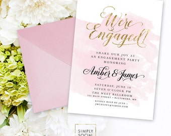 Blush Engagement Party Invitation