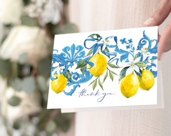 Tuscan Lemon Thank You Notes - Portuguese Blue Tile and Lemon