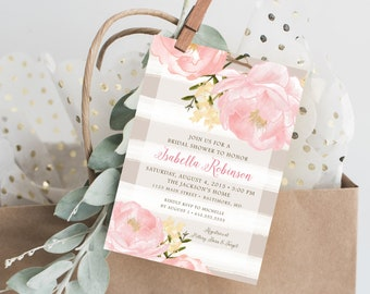 Pink Peony and Grey Stripe Bridal Shower Invitation
