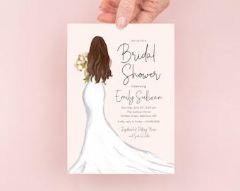 Brunette Bride in a Gown Bridal Shower Invitation