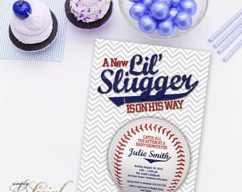 Little Slugger Baseball Baby Shower Invitation
