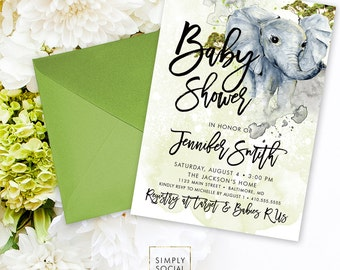 Elephant Baby Shower Invitation - Boho Elephant Gender Neutral Savannah Baby Shower Invitation Watercolor Printable
