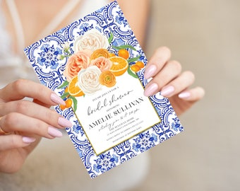 Orange Blossom Floral Bridal Shower Invitation  - Printed Invitations - Mimosa Invitation