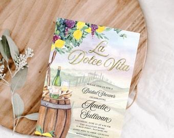 La Dolce Vita - Tuscan Winetasting Bridal Shower Invitation - Tuscany Lemon Bridal Shower - Winery Bridal Shower
