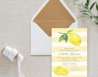 Lemon Stripe Bridal Shower Invitation