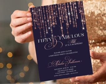 Rose Gold Fairy Lights Surprise 50th Birthday Invitation - 60th 50th 40th 30th Fifty and Fabulous