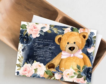 Blush and Navy Floral Teddy Bear Baby Shower Invitation - It's a Girl Watercolor Modern Baby Shower Pink Little Cub Printable - Baby Girl