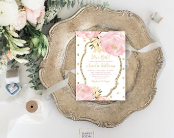Peony Baby Shower Invitation - Personalized Custom Floral Flowers Pink Gold Polka Dot Botanical Romantic Printable Party Invite