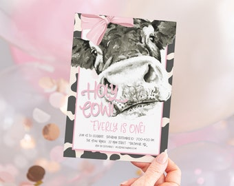 Holy Cow I'm One Invitations - Pink Cow Birthday Invites - Girl Farm Party Invite - Girl Birthday Invitation - Cow Birthday Invite