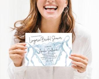 Something Blue Lingerie Bridal Shower Invitation - Panty Party